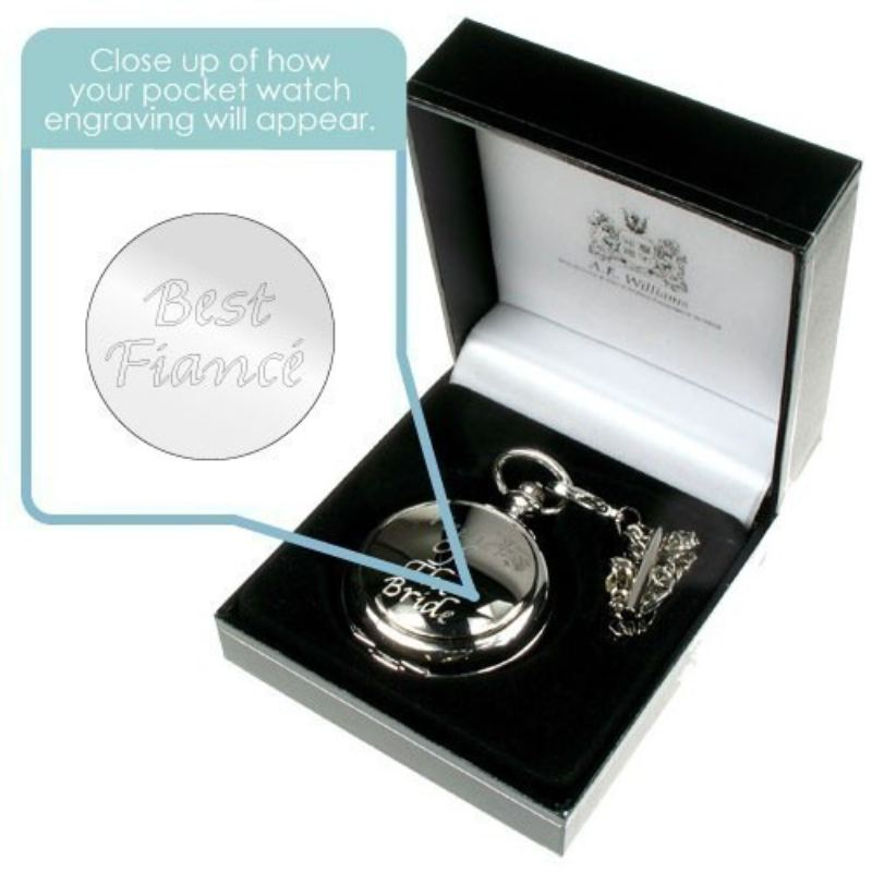Engraved Best Fiance Pocket Watch product image