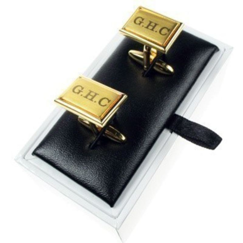 Engraved Brushed Golden Cufflinks product image