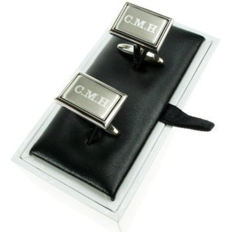 Engraved Brushed Silver Cufflinks product image