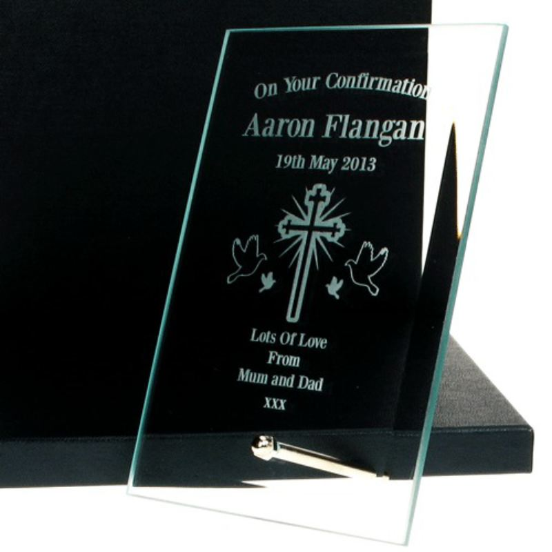 Engraved Confirmation Glass Plaque product image