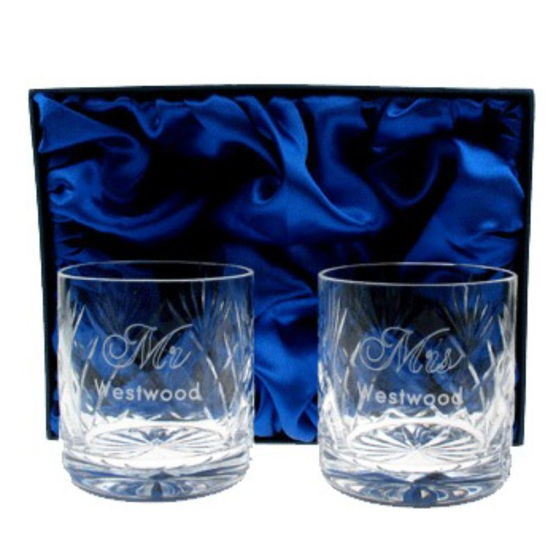 Engraved Crystal Wedding Whisky Glasses product image