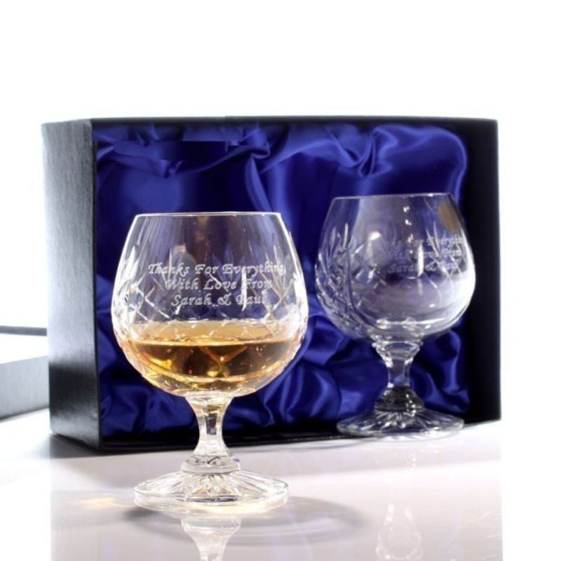 Engraved Cut Crystal Brandy Glasses product image