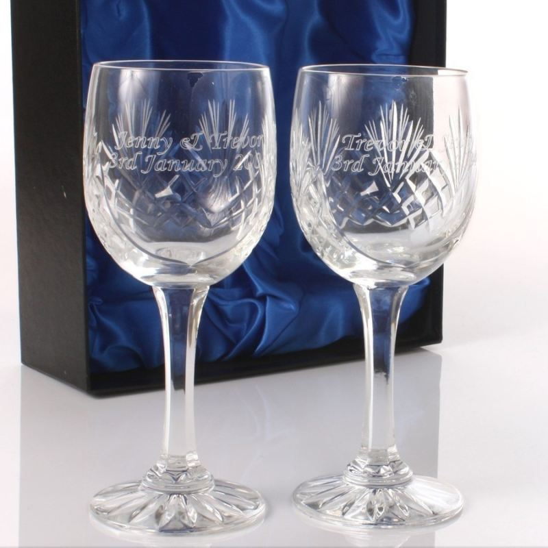 Engraved Cut Crystal Wine Glasses product image
