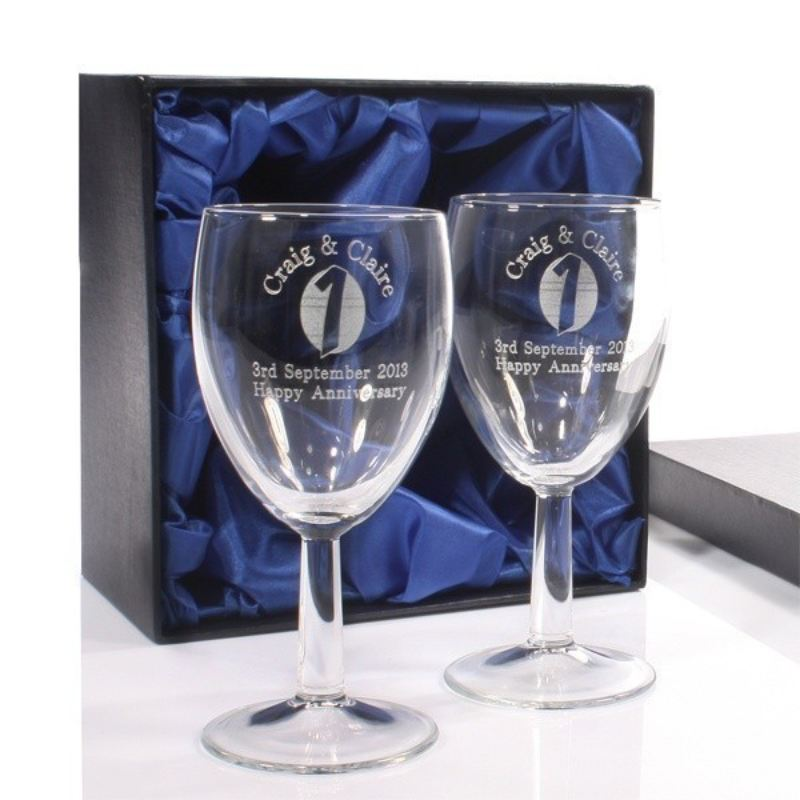 Engraved First Anniversary Wine Glasses product image