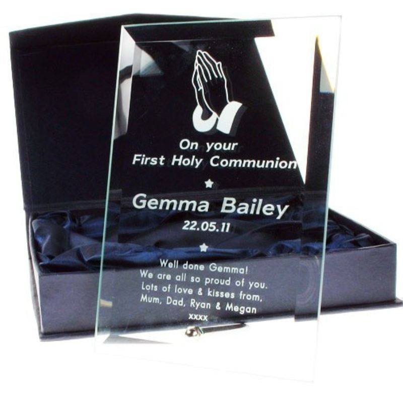 Engraved Glass Communion Frame: Praying Hands Design product image