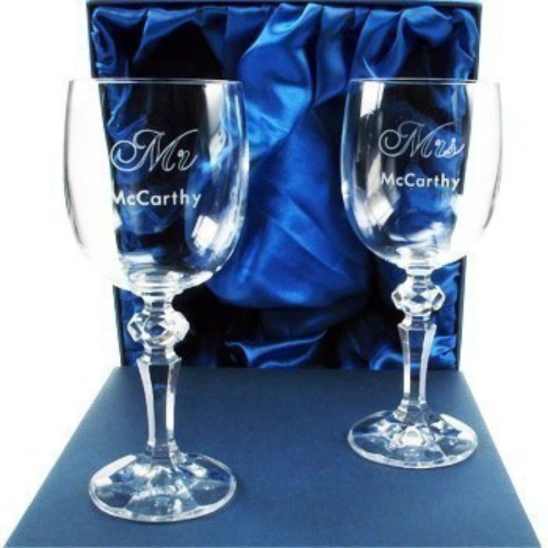 Engraved Mr and Mrs Crystal Wedding Wine Glasses product image