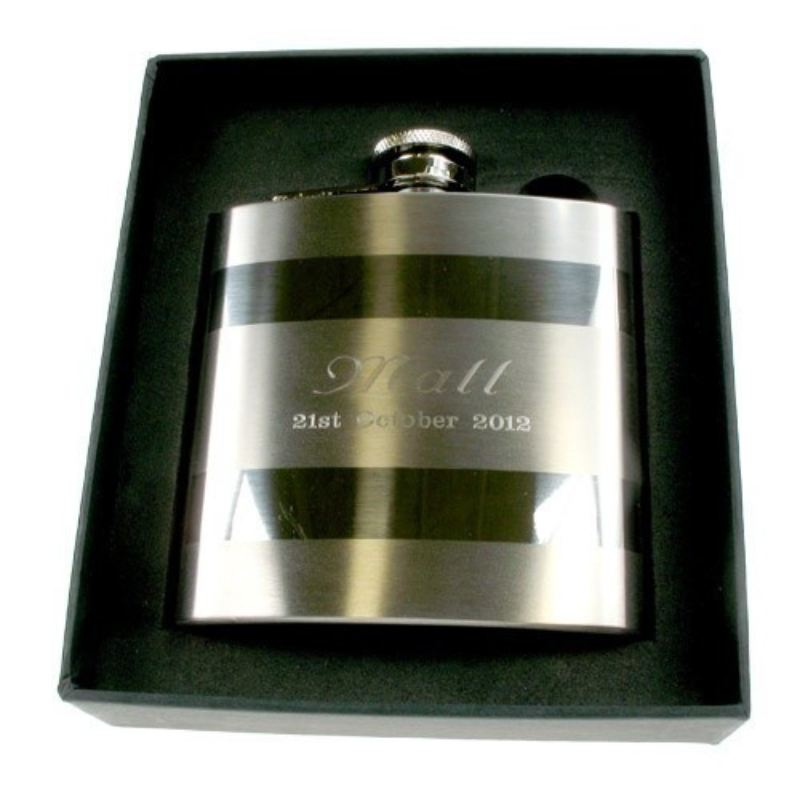 Engraved Satin Steel Hip Flask: Anniversary Gift for Him product image