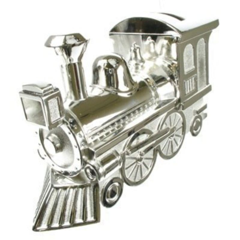 Engraved Silver Plated Train Money Box product image