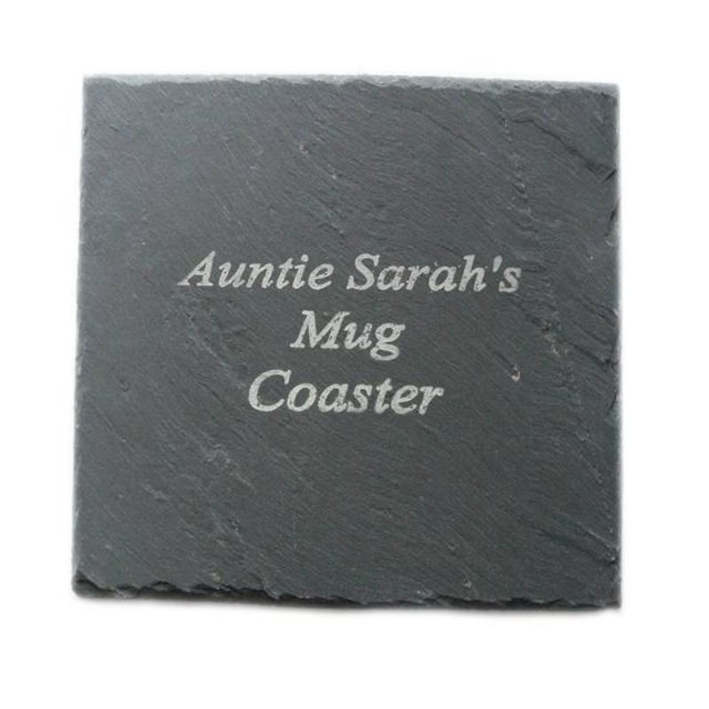 Engraved Square Slate Coaster product image