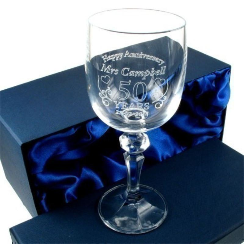 Engraved Wedding Anniversary Crystal Wine Glass for Her product image