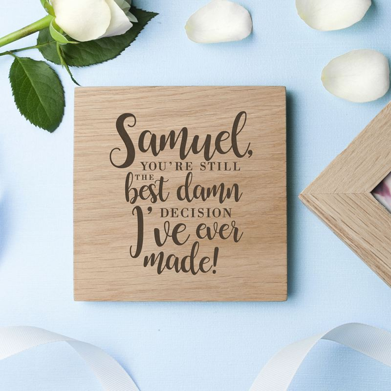 Engraved Valentine's Best Damn Decision Oak Photo Cube product image