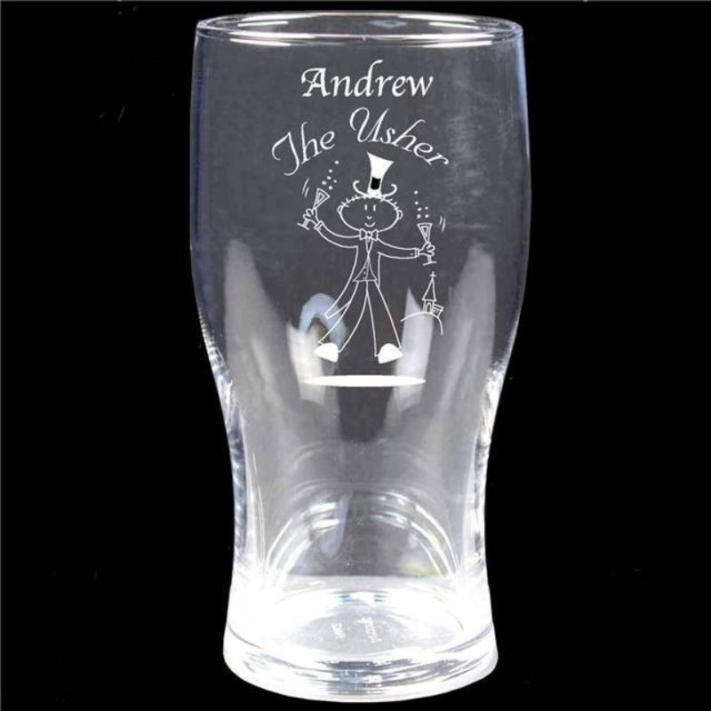 Etched Wedding Character Tulip Pint Glass product image