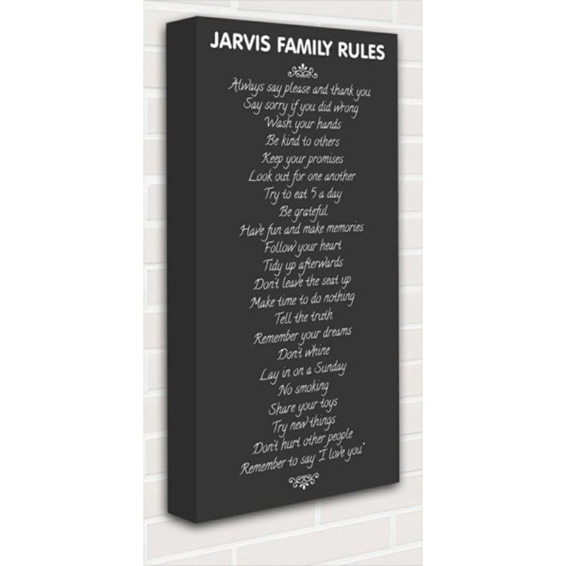 Family Rules Personalised Canvas product image
