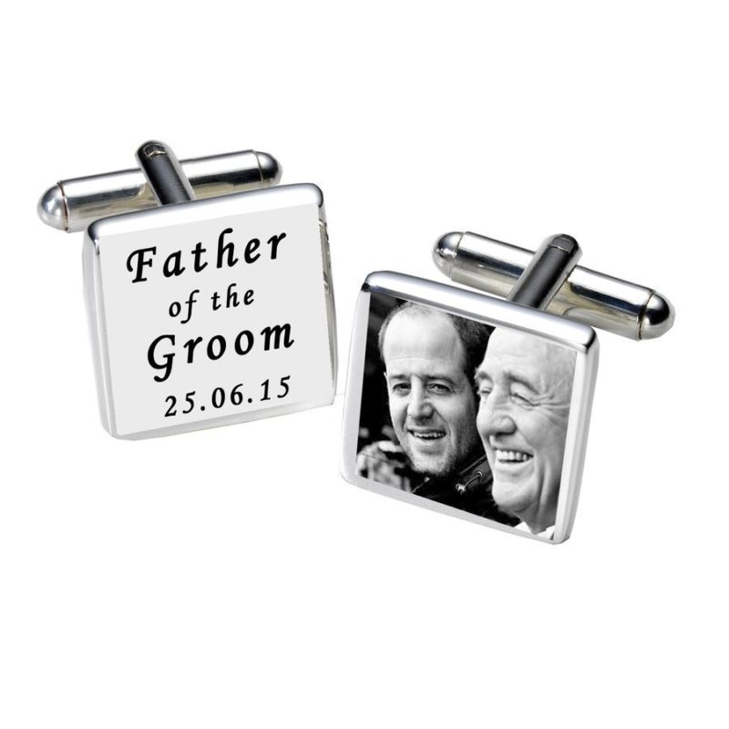 Father of the Groom Photo Cufflinks - White product image