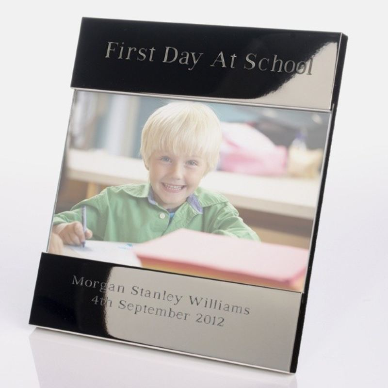 First Day at School Shiny Silver Photo Frame product image