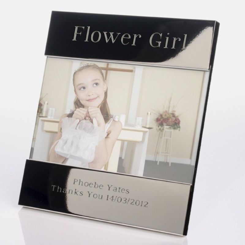 Flower Girl Personalised Shiny Silver Photo Frame product image