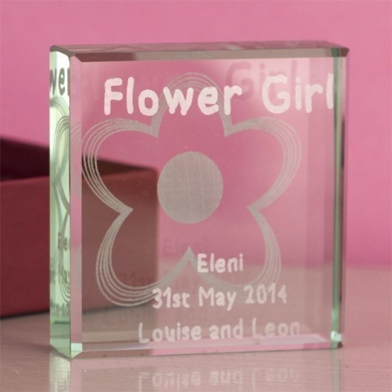 Flower Girl Square Glass Keepsake product image