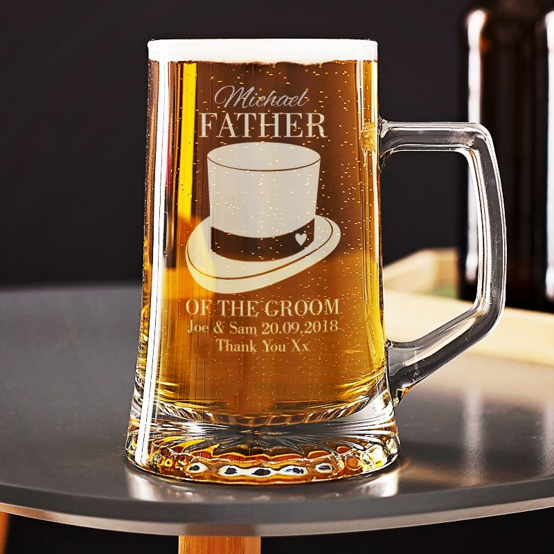 Personalised Grandfather of the Groom Beer Glass Tankard product image