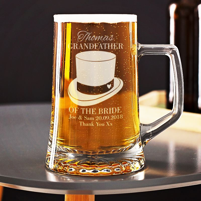 Personalised Grandfather of the Bride Beer Glass Tankard product image