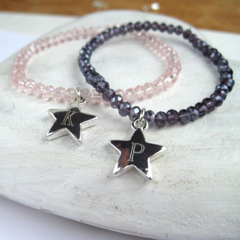Girls Crystal Stretch Bracelet - Personalised Star product image