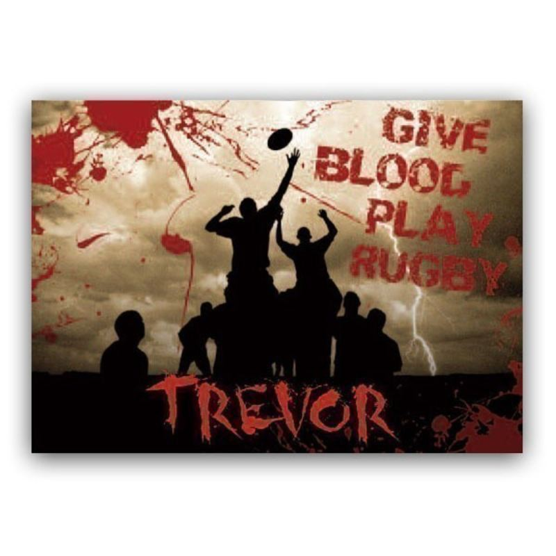 Give Blood, Play Rugby Personalised Framed Poster product image