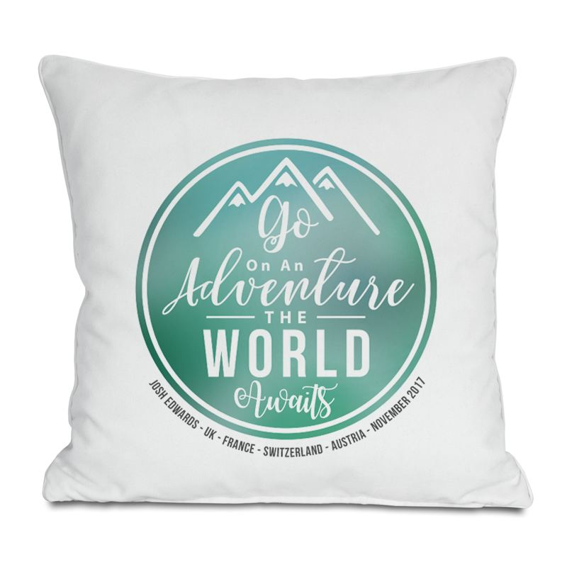 The World Awaits Personalised Cushion product image