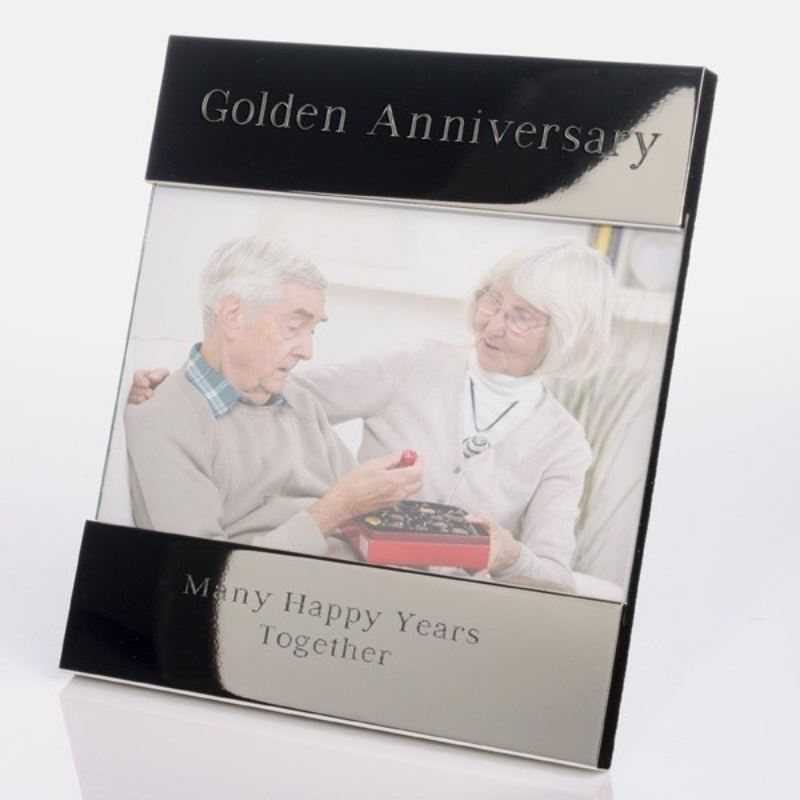 Golden Wedding Anniversary Shiny Silver Photo Frame product image