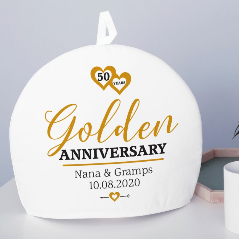 Personalised Golden Wedding Anniversary Tea Cosy product image