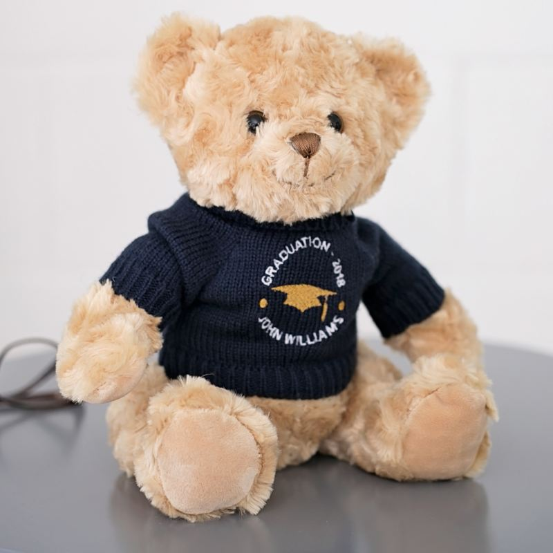 Embroidered Graduation Teddy Bear - Navy Jumper product image