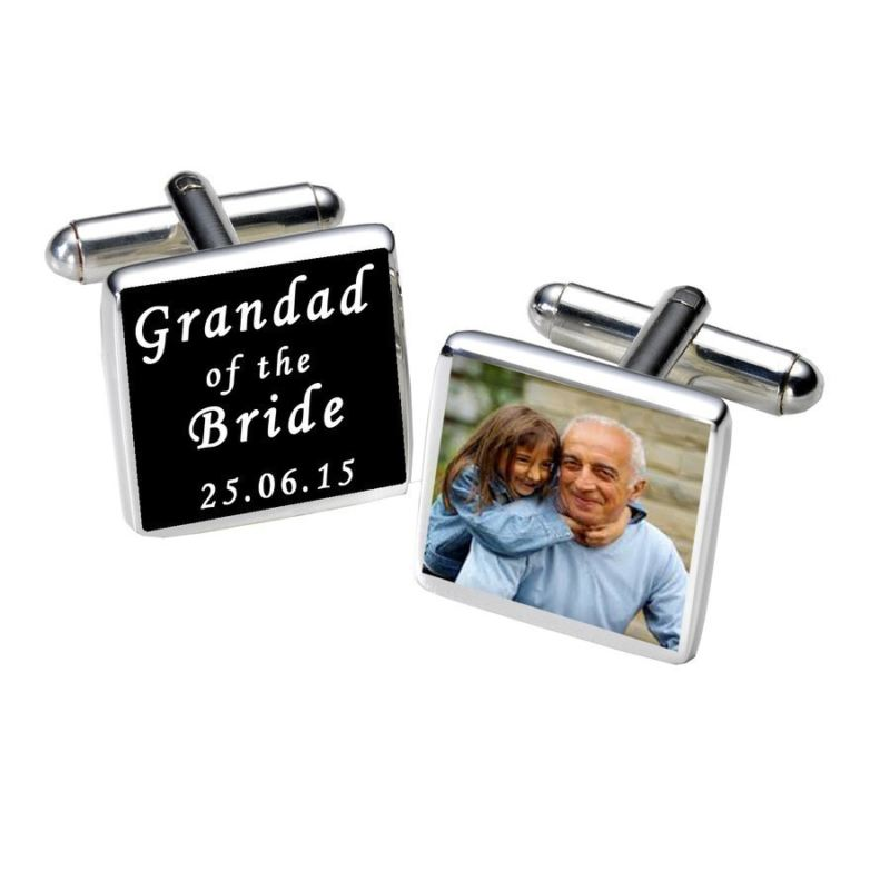 Grandad of the Bride Photo Cufflinks - Black product image