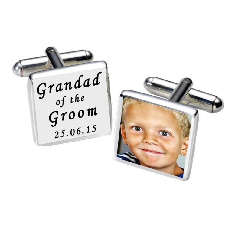Grandad of the Groom Photo Cufflinks - White product image