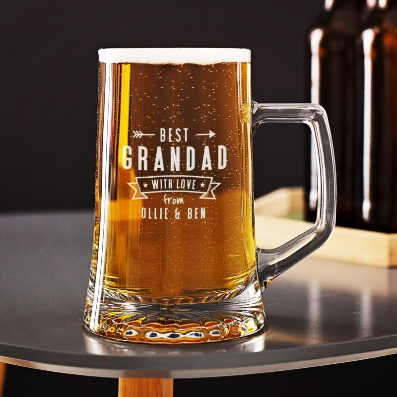 Personalised Best Grandad Beer Glass Tankard product image