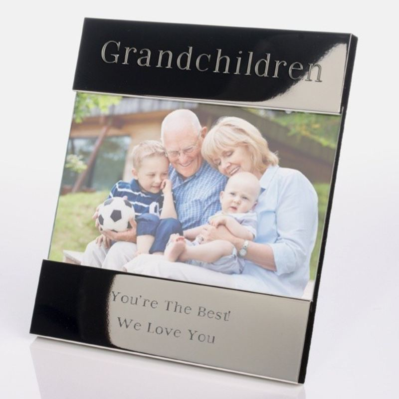 Grandchildren Engraved Shiny Silver Photo Frame product image