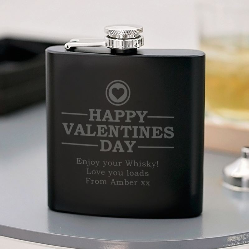 Valentines Day Engraved Satin Steel Black Hip Flask product image