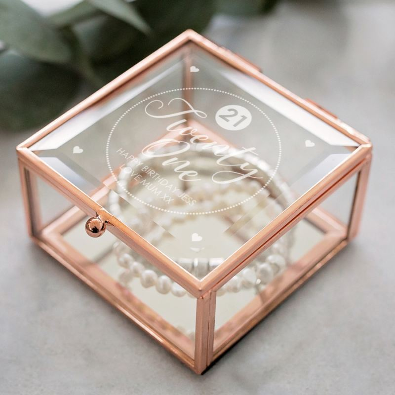 Personalised 21st Birthday Rose Gold Trinket Box product image