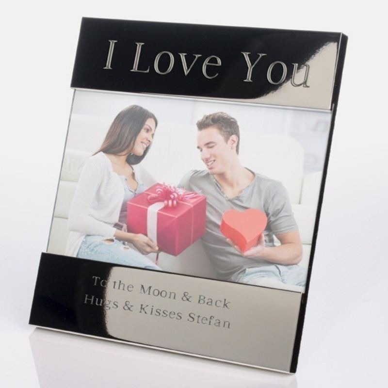 I Love You Shiny Silver Photo Frame product image