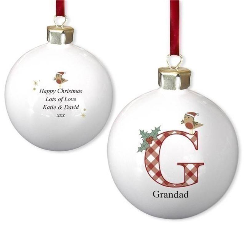 Initial Robin Bone China Bauble product image
