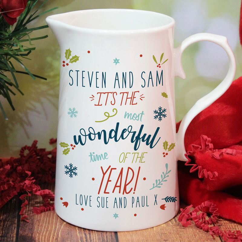 Personalised The Most Wonderful Time Of The Year Farmhouse Jug product image