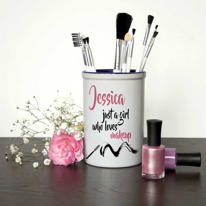 Just A Girl Who Loves Makeup Personalised Brush Holder product image