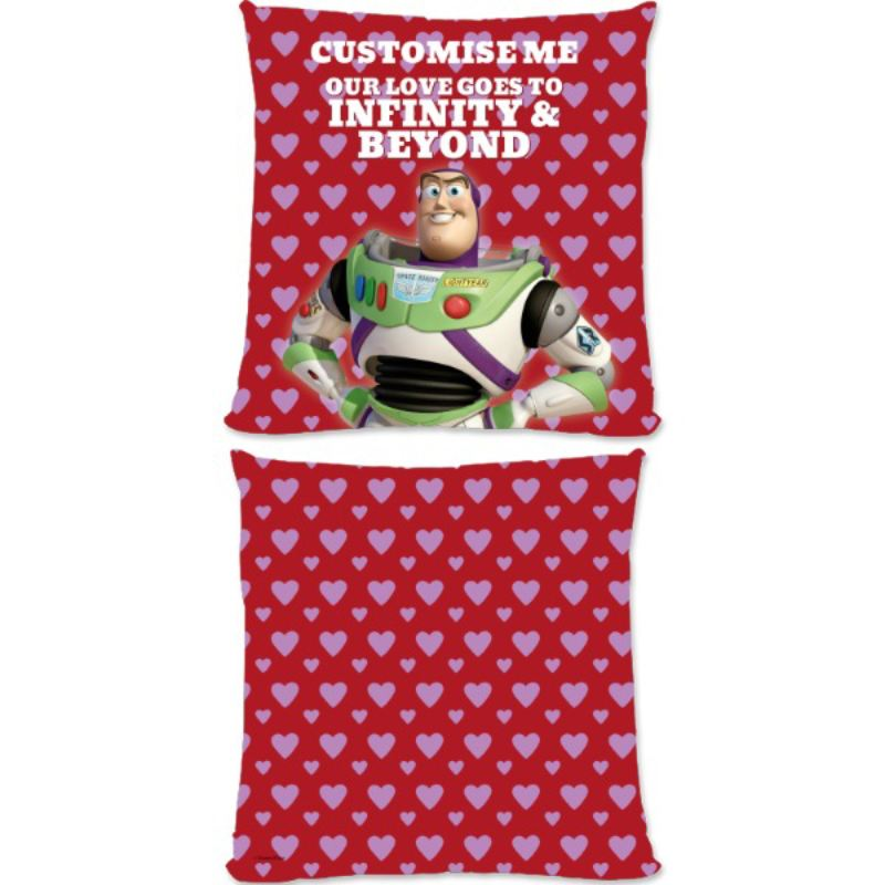 "Personalised Disney Toy Story Buzz Valentines ""Infinity & Beyond"" Large Cushion product image"