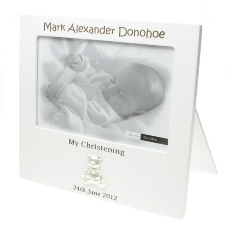 Laser Engraved White Teddy Christening Frame product image