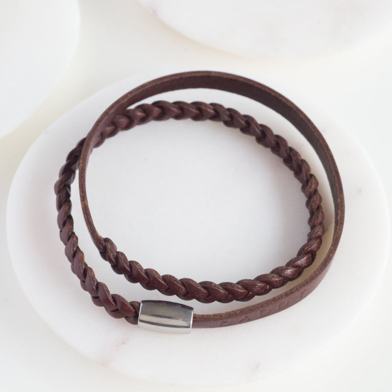 Personalised Hand Stamped Leather Wrap Wristband product image