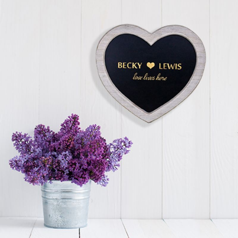 Love Lives Here Personalised Heart Chalkboard Sign product image