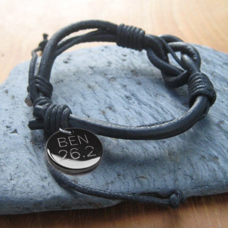 Mens Leather Knot Engraved Bracelet product image