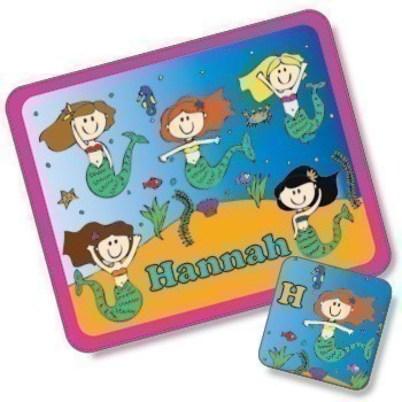 Mermaid Design Placemat and Coaster Set product image