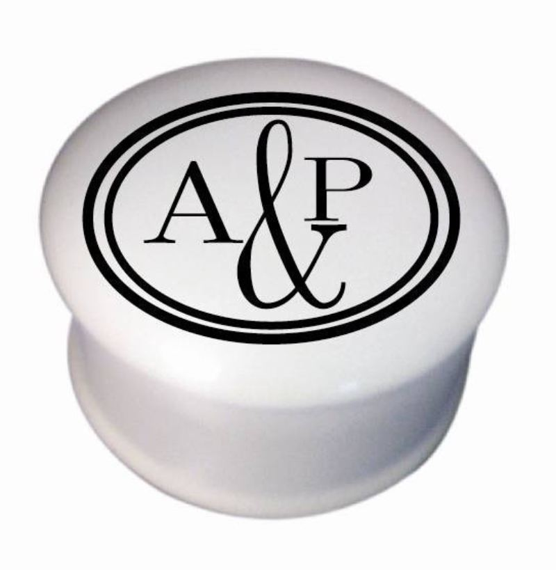 "Monogram Circle 3"" Round Trinket Box product image"