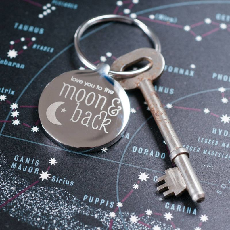 Personalised Moon And Back Keyring product image