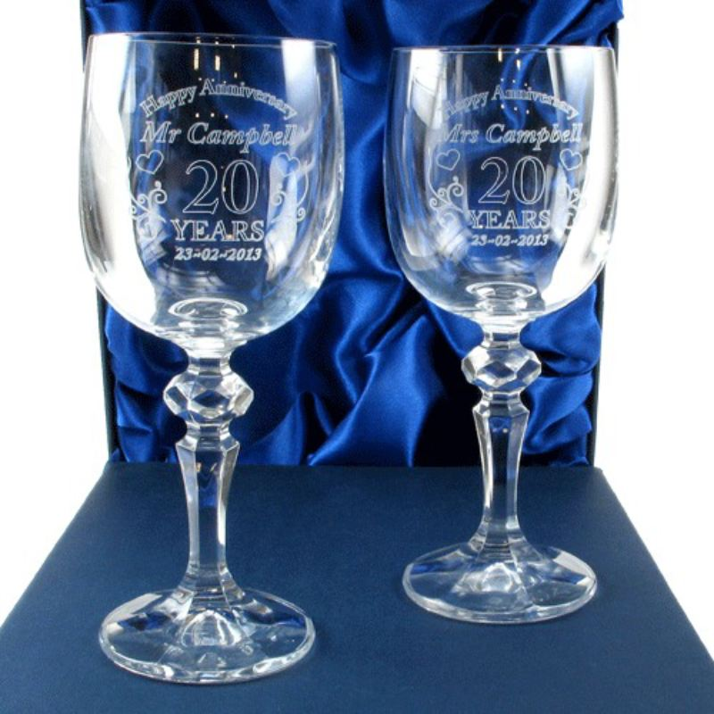 Mr and Mrs 20th Anniversary Engraved Crystal Wine Glasses product image