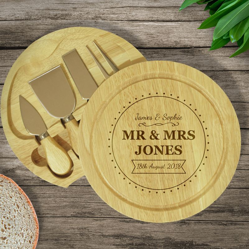 Personalised Wooden Cheeseboard Set - Mr & Mrs product image