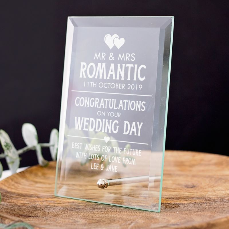 Personalised Wedding Glass Plaque product image